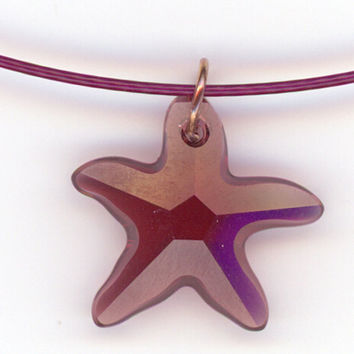 Burgundy Crystal Starfish Pendant with Cable Choker by Lehane