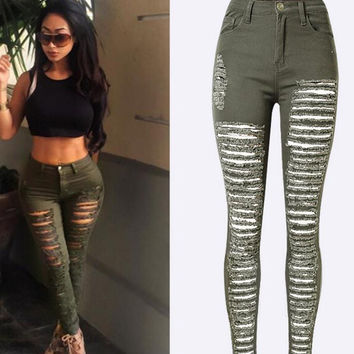 Ripped Holes Star Print 9/10 BF Loose Straight Jeans