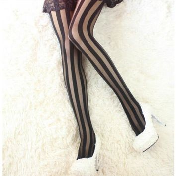 Spring Summer Women Fashion Sexy Silk Tights Pantyhose Striped Thin Black Stockings Lady Pantyhose