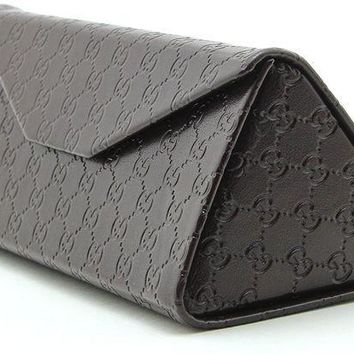 PEAPGQ6 Gucci Tri-fold Leather Glasses Sunglasses Case w/Cleaning Cloth, Large