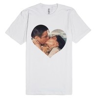 Kissing in the Rain (With a Marmalade Cat)-Unisex White T-Shirt
