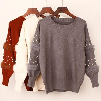New Fashion Beading Women Pullover Sweater Autumn Winter Warm Jumper O-Neck Long Sleeves Femme Sweater Top Faux Rabbit Fur