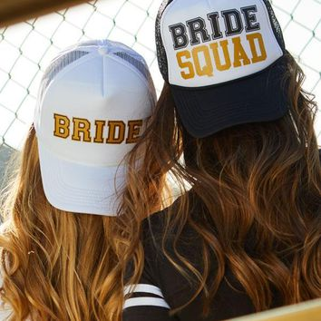 Sporty Bride and Bride Squad | Bachelorette Party Trucker Hats