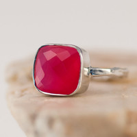 Fuchsia Pink Chalcedony Ring - Stacking Ring - Gemstone Ring - Silver Rings - Hot Pink Ring - Stackable Ring