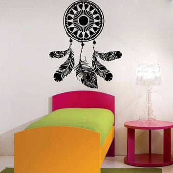 Wall Decals Dream Catcher Amulet Indian Mandala Floral Design Pattern Feather Yoga Gym Home Vinyl Decal Sticker Bedroom Interior Decor kk721