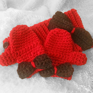 Baby girl crochet red headband, red mittens, handmade infant earwarmer, newborn mittens, baby gift