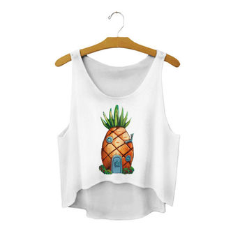 Women's Spongebob Squarepants Pineapple House Printed Cute Sexy Girl Cropped Sports Summer Harajuku Style Camisole Youth Crop Top Tank Top