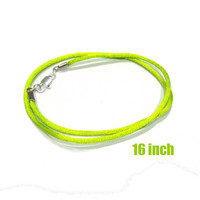 16 Inch Necklace -- Lime Green Satin Necklace Cord with Silver Plated Lobster Clasp, Ready to Ship