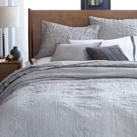 Crinkle Duvet Cover + Shams - Feather Gray