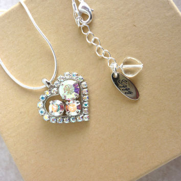 "Swarovski crystal heart pendant necklace in crystal AB,  ""Endless Love"" ,  Siggy design, GREAT PRICE"