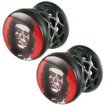 Che Skull Logo Double-Flared Plug [Gauge: 1/2 inch - 12mm] Alloy (Black) // Set of 2