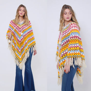 Vintage 70s RAINBOW Crochet Poncho PASTEL Knit Afghan Poncho FRINGE Poncho Hippie Sweater