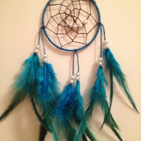 Blue / teal dream catcher, brown web with blue rooster feathers and pearl bead spiral finish 7cm diameter - dreamcatcher hand made