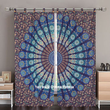 Blue Multi Indie Boho 84 Inch Mandala Curtain Panel Pair on RoyalFurnish.com