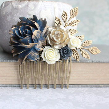 Floral Hair Piece Navy and Gold Wedding Bridal Hair Comb Vintage Style Antique Gold Branch Flowers for Hair Bridesmaids Gift Something Blue