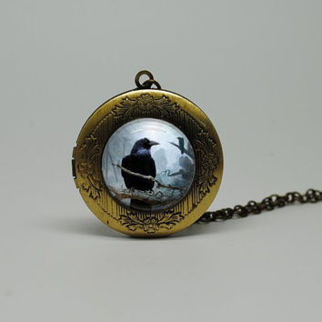 Vintage Style Glass Locket Necklace with Dark Raven Crow Buy 3 get the 4th Free