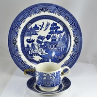 Blue Willow China Churchill England - 3 Piece Set -  Dinner Plate Cup Saucer - Blue White Decor