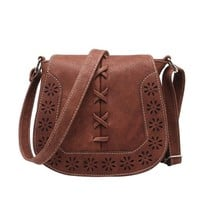 Clover Vintage Retro Boho Style Faux Leather Crossbody Bag
