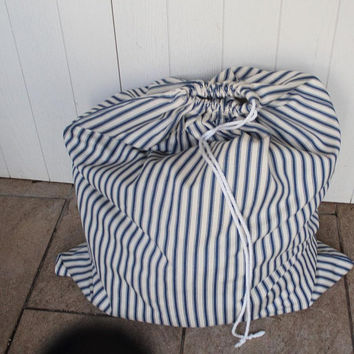Large Laundry Bag blue and cream traditional  ticking stripe