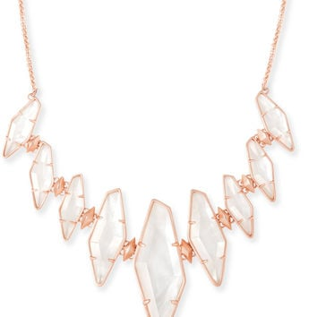 Kendra Scott: Berniece Rose Gold Collar Necklace In Ivory Pearl