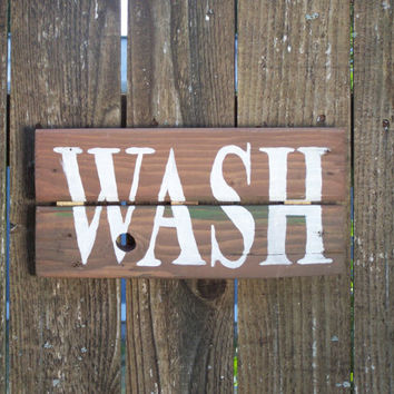 WASH sign Bathroom or Laundry on Reclaimed rustic Pallet Wood