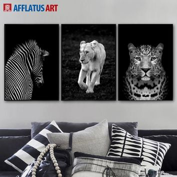 Black White Lion Leopard Zebra Wall Art Canvas Painting Nordic Posters And Prints Animals Wall Pictures For Living Room Decor