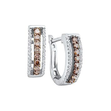 14kt White Gold Womens Round Cognac-brown Colored Diamond Triple Row Huggie Earrings 3/8 Cttw