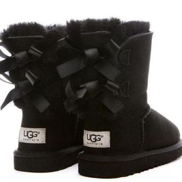 UGG Fashion Women Bow Flats Leather Boots In Tube Boots Shoes-1