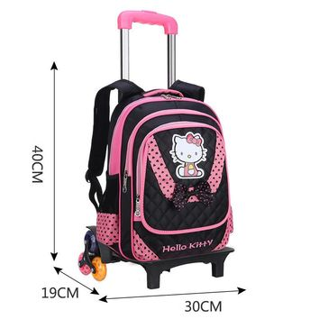 Hello Kitty Children Backpack With 2/3 Wheels Luggage