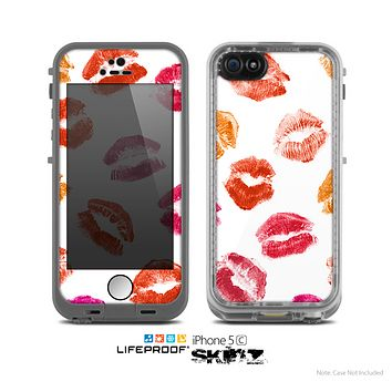 The White with Colored Pucker Lip Prints Skin for the Apple iPhone 5c LifeProof Case