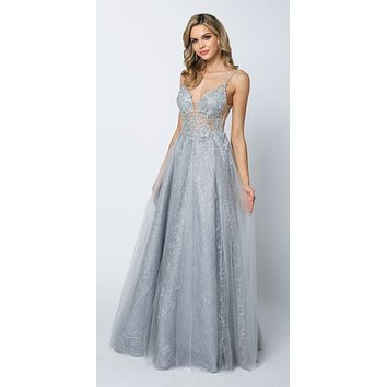 Sheer Embroidered Bodice Sequin Train Tulle Ball Gown Silver
