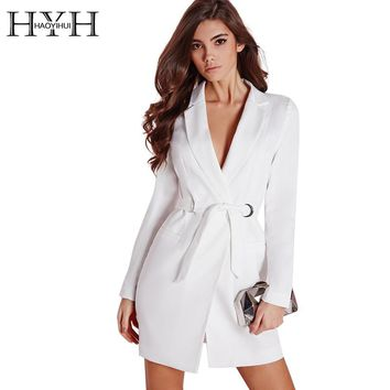 HYH HAOYIHUI Women Dress Vestidos Solid White High Waist Casual Slim Office Dresses Sexy Plunge Neck Elegant Blazer Mini Dress