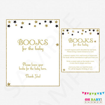 Black and Gold Baby Shower Games Bring a Book Instead of Card Book Request Printable Twinkle Twinkle Little Star Baby Shower Download STBLG