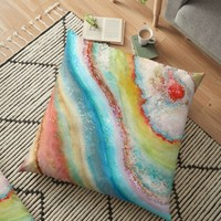 'AGATE Inspired Watercolor Abstract 01' Floor Pillow by Viviana Gonzalez
