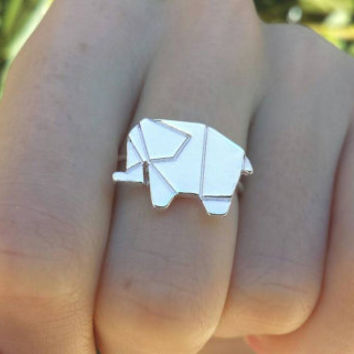 Adjustable Origami Elephant Ring - Statement Ring - Animal Ring - Valentines Day Ring