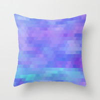 abstract geometric triangle mosaic - purple, aqua, lavender Throw Pillow by Tina Lavoie's Glimmersmith