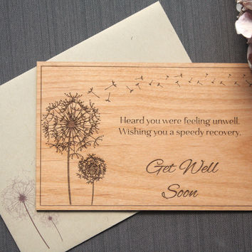 Get Well Soon Greeting Wood Card