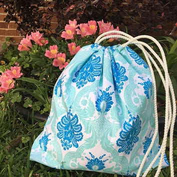 Personalized Drawstring Bag,Aqua & Blue Bag,Laundry Bag,Beach Bag,Overnight bag,Monogrammed,Eco Friendly,Personalized Gifts,Wet Bag