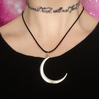 Moon child necklace on black cord