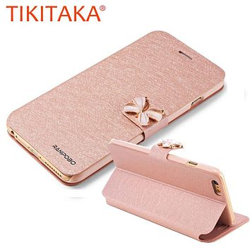 Butterfly Built-in Card slot Silk Pattern Stand Flip Leather Mobile Phone Case For iPhone 5 5S SE 6 6S Plus