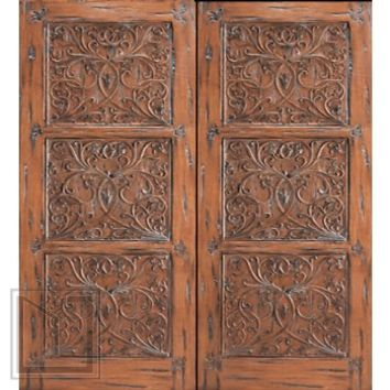 Provence Floral Hand Carved Prehung Double Door, Solid Mahogany