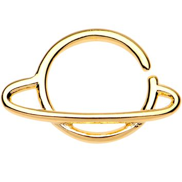 "16 Gauge 3/8"" Gold Tone Rings of Saturn Planet Septum Ring"