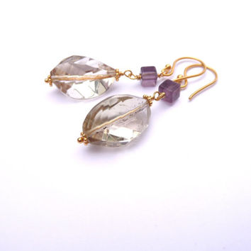 Lemon Quartz & Purple Fluorite 24K Gold Vermeil Earrings - Gold Plated Sterling Silver Drop Earrings
