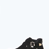 Brooke Suedette Gold Insert Harness Strap Ankle Boot
