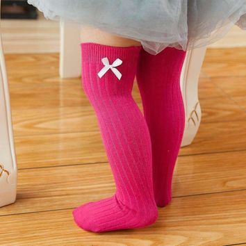 0-8T Newborn Toddler Knee High Socks Baby Girls Bow Sock Leg Warmer 6 Solid Color Toddler Baby Girl Clothes Accessories Sock