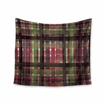 "Ebi Emporium ""PLAID FOR YOU, PINK GREEN"" Pink Green Stripes Pattern Mixed Media Painting Wall Tapestry"