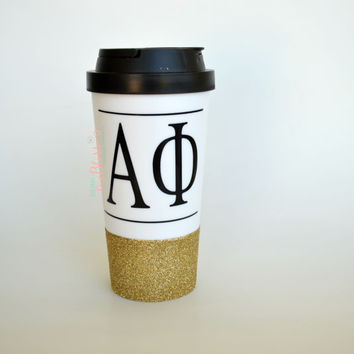 Sorority Travel Cup, Alpha Phi, Custom sorority cup, Personalized college sorority Cup, To go coffee Cup, Custom to go cup