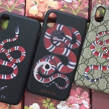 GUCCI Fashion Print iPhone Phone Cover Case For iPhone X-3