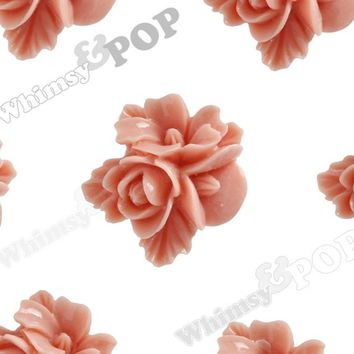 CORAL 16mm Fancy Textured Flower Bouquet Cabochons