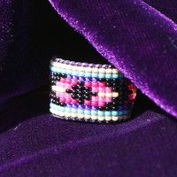 Navajo Native Indian Tribal Boho Chic / Hippie Chic Gorgeous Tiniest Micro Seed Bead Band Ring in... your size or Adjustable